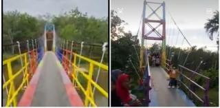 Jembatan Pelangi Desa Sipungguk Jadi Viral di Medsos